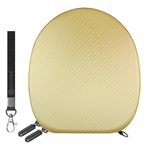 Geekria UltraShell Headphones Case for Bose QuietComfort QC3, QC25, QC2, QC15, AE2w, AE2i, AE2 / Headphone Hard Carrying Case/Travel Bag (Pearl Gold PU Leather)