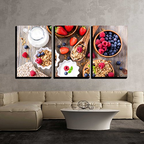 wall26 - 3 Piece Canvas Wall Art - Breakfast with Muesli, Berries, Crisp Bread and Yogurt - Modern Home Decor Stretched and Framed Ready to Hang - 24
