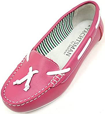 Absolute Footwear Womens 100% Leather Casual/Formal Slip On Summer/Holiday/Boat Shoes - Fuchsia - US 5