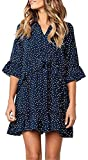 ALAIX Women's Casual V Neck Ruffle Polka Dot Loose Swing Short T-Shirt Dress Dark Blue-S