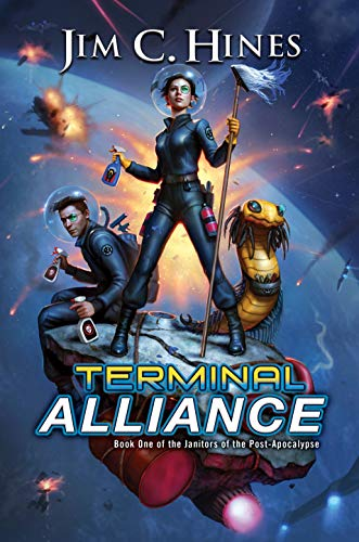 Terminal Alliance (Janitors of the Post-Apocalypse Book 1) by Jim C. Hines -- a woman in a space suit stands on a platform in space with a space-suited man and a shaggy worm-like alien. The woman holds a mop and a spray bottle. The man holds two spray bottles. Explosions appear in the background over a distant planet.