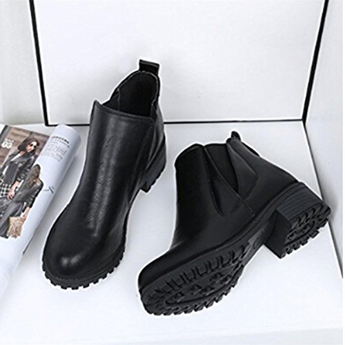 eshion Womens Winter Ankle Boots Low Heels Fashion Boots Autumn Winter Boots Shoes Black objUdblx