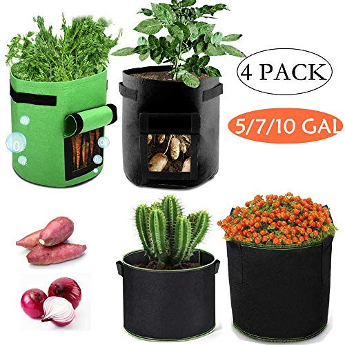4 Pack Potato Grow Bags Set, Gardening Grow Pot Planter Aeration Fabric Container Planting Bag, Nonwoven Growing Bags 5 7 10 Gallon with Window & Handles for Vegetable Flower Fruit Indoor Outdoor