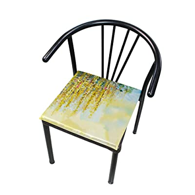 Bardic FICOO Home Patio Chair Cushion Art Painting Pattern Square Cushion Non-Slip Memory Foam Outdoor Seat Cushion, 16x16 Inch: Home & Kitchen