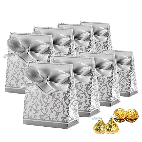 (Johouse Candy Boxes, Gift Boxes Cake Boxes Candy Bag with Gift Ribbons for Wedding Party Favor Party Decoration Easter, Silver, 50 PCS)