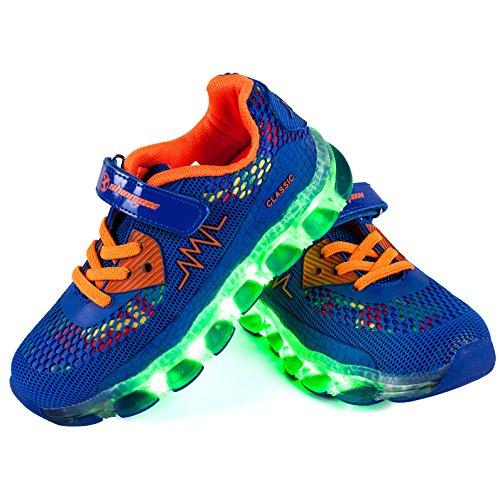 Shinmax LED Zapatos, Primavera-Verano-Otoño Transpirable Zapatillas LED 7 Colores Recargables Luz Zapatos de Deporte de Zapatillas con Luces Para Niños Niñas con CE Certificado Azul Oscuro