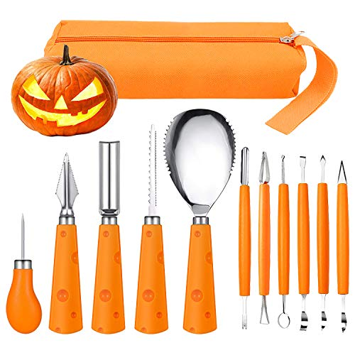 Crazy Halloween Pumpkin Designs (Halloween Pumpkin Carving Kit, FEOAMO 11 Pieces Professional Heavy Duty Stainless Steel Jack O Lanterns Pumpkin Carving Tools Set for Halloween Kids Adults Party Decorations, with Storage Carrying)