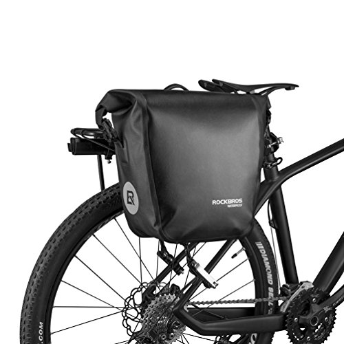 RockBros Bike Pannier Waterproof Capacity with Carrying Handle Cycling Rear Trunk Bag for Mountain Road Folding Bike Black