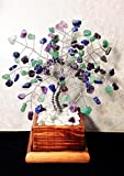 Amethyst, Green Adventurine and Lapis Lazuli Crystal Gemstone Bonsai Tree Of Life,Feng Shui,Wire Art Decor,Healing Gemstone Wire Tree Sculpture In Wood Pot, Money Tree
