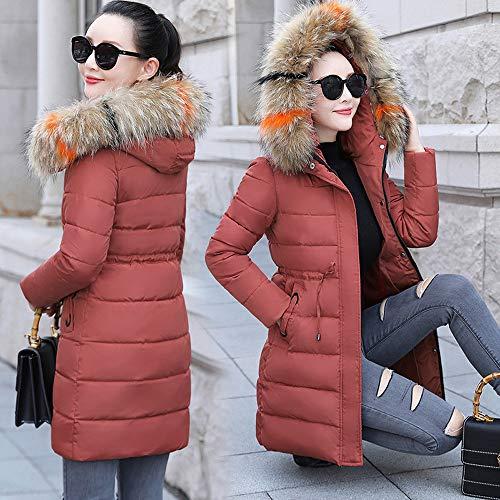 Femme Vin Roge Chaud Blouson Fourrure Veste Jacket Capuche Manteau À Hiver Faux Amuster Doudoune Col Long w6YHUq