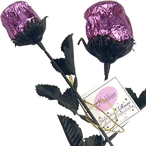 Bright Lavender Foil Sweetheart Solid Milk Chocolate Rose (1/2 Oz, 9.5
