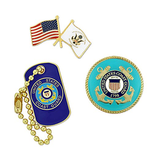 PinMart USCG Coast Guard Military Patriotic Dog Tag Enamel Lapel Pin (Guard Lapel Pin)