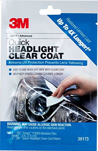 3M 1 Pack Quick Headlight Clear Coat, 39173 (Best Wipe On Clear Coat For Cars)