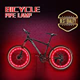Honche Waterproof LED Bike Wheel Light, Ultra Bright LED Bike Wheel PVC Rope Light, Safety Accessory tire Light Kids Men. (2 Pair Red)