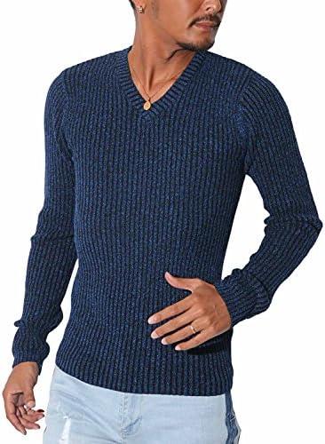 LUX STYLE(ラグスタイル) リブ Vネック ニットソー ニット メンズ セーター テレコ