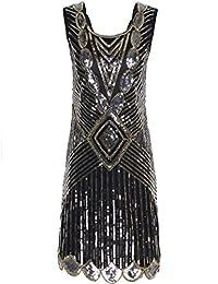 PrettyGuide Women 1920s Gatsby Sequin Art Deco Scalloped Hem Inspired Flapper Dress
