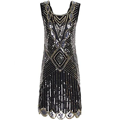 PrettyGuide Womens 1920s Gatsby Sequin Art Deco Inspired Flapper Dress XL Champagne Gold