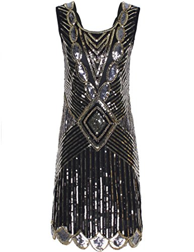 PrettyGuide Women's 1920s Gatsby Sequin Art Deco Inspired Flapper Dress XL Champagne Gold -