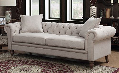 Juliet Small Chesterfield Tufted Beige Linen Fabric Sofa