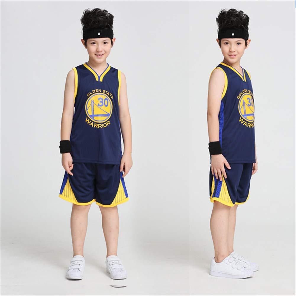 XCR NBA Warriors Curry 30th Golden State Maglia Costume Jersey Bambini Ragazzi Ragazze Uomo Estate Suit Kit Set Retro Shorts e Jersey Basket Uniform Top e Shorts 1 Set