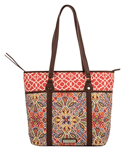 Waverly Quilted Cotton Tote Bag - Tote Cotton Zip Top