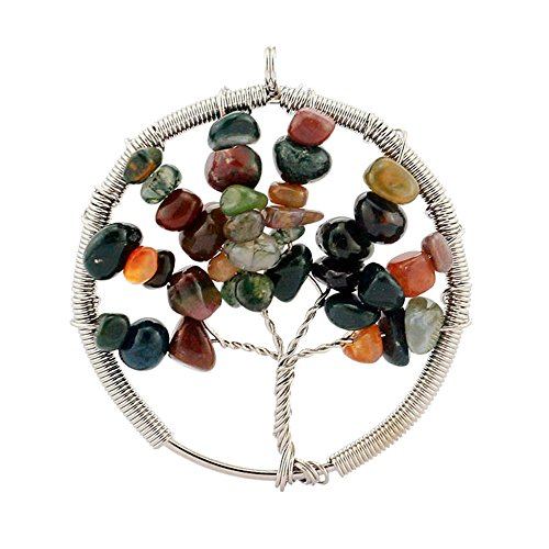 Garnet Family Pendant (Happy Hours - Men's and Women's Handmade Round Tree Of Life Alloy Pendant with Charm Gravel / Unisex Natural Tumbled Gemstone Wire Wrapped Pendant Fit Necklace(Red)