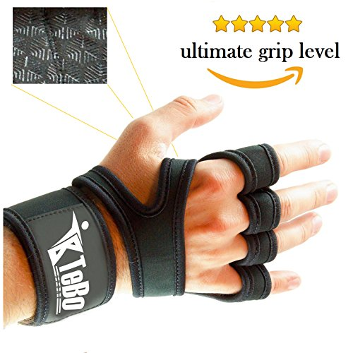 Cross Training Gloves with Wrist Support for Men & Women, Unisex Fingerless Neoprene Training Grip Palm Protectors with Adjustable Straps for Heavy Duty Bodybuilding, Weightlifting, Crossfit Exercise