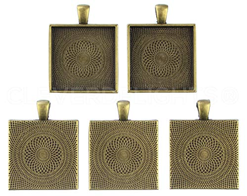 (CleverDelights 10 Square Pendant Trays - Antique Bronze Color - 1 Inch - 25mm - Pendant Blanks Cameo Bezel Settings Photo Jewelry - Custom Jewelry Making - 1