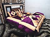Peponi Purple Wedding Bedding Set 8 Pcs (Quilt, Double Bed Sheet, 2 Pillow Covers, 2 Filled Cushions, 2 Filled Bolster Covers)