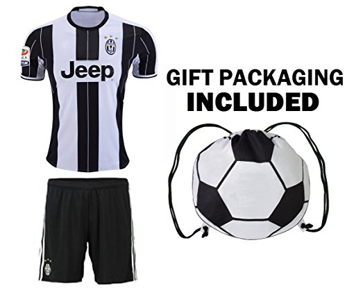 Home Youth Soccer Jersey & Shorts Kids Premium Gift Kitbag ✮ BONUS GIFT Soccer Backpack (Youth Medium 8-10 Years, Home Short Sleeve) (Juventus Home Jersey)
