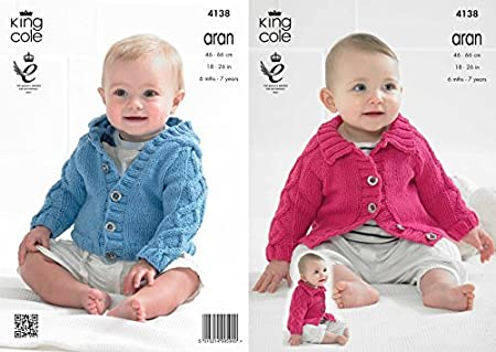 00250f77048a King Cole 4138 Knitting pattern Babies Raglan Cardigans To Knit in ...