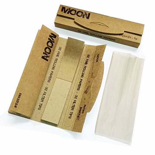 MOON Unbleached Slow Burning Pure Hemp Rolling Paper Cigarette Paper (108mm & Tips - 2 booklets)