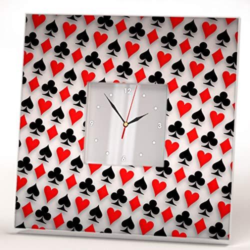 Symbols of Deck Poker Cards Wall Clock Framed Mirror Decor Casino Fan Design Art Printed Home Gift