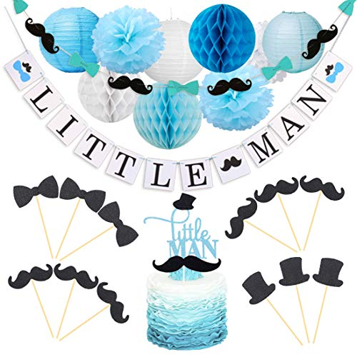 Kreatwow Little Man Baby Shower Decorations Little Man Cake Topper Mustache Hat Bow Tie Cupcake Toppers Garland for Birthday Party Decorations ()