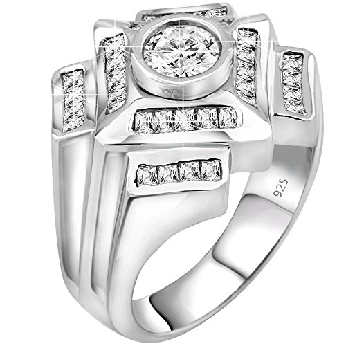 Sterling Manufacturers Men's Sterling Silver .925 Ring Featuring a 1.75 Carat Cubic Zirconia (CZ) Center Stone Surrounded by 36 (CZ) Stones, Platinum Plated