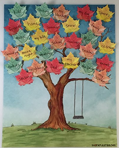 Thankful Tree Poster Pack - Thanksgiving Decoration - Thanksgiving Tree diy with Leaf Post it Notes - Thanksgiving Activity for Kids (Thankful Tree Craft)