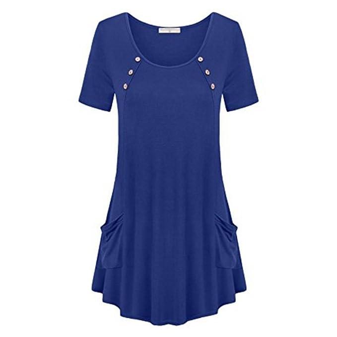 Túnicaa Vestir Mujer Manga Corta Blusa Elegant Vintage Plain T-Shirts Camisas con Pockets Asymmetrical