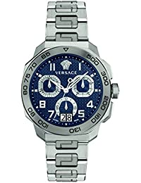 Men's 'Dylos Chrono' Swiss Quartz Stainless Steel Watch, Color:Silver-Toned (Model: VQC090016)