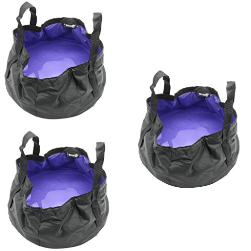 Three Portable Sink - TRENDBOX 3 x Foldable Wash Basin Sink Water Bag Portable Mini 8.5L Footbath Camping Hiking Outdoor Durable Design - Purple