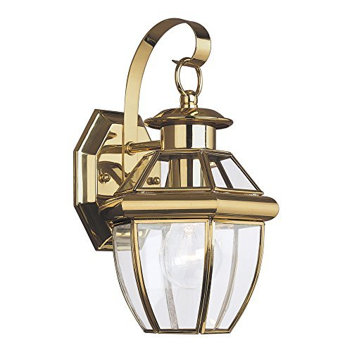 Sea Gull Lighting 8037-02 Lancaster One-Light Outdoor Wall Lantern with Clear Curved Beveled Glass Panels, Polished Brass Finish [並行輸入品] B07R9SYPBM