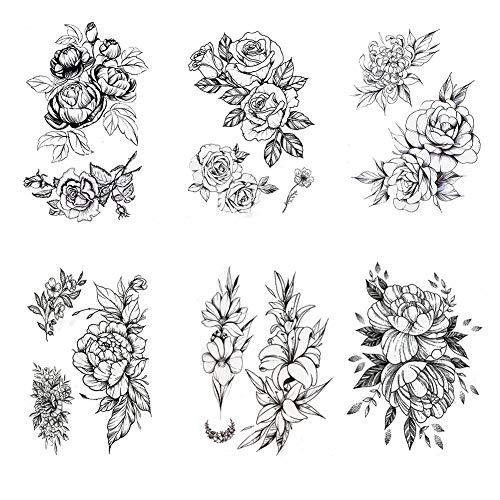 Black Rose Temporary Tattoos Flowers Tattoo Sticker Sexy Waterproof Fake Body Art – 6 Sheet