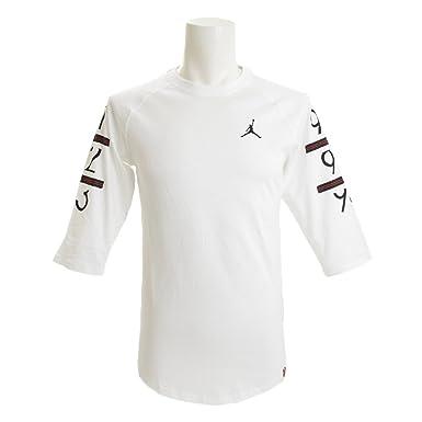 ca21b5fff8bb09 Jordan Long Sleeve T-Shirt - 6 Times 3 4 Raglan White Black Size  L (Large)   Amazon.co.uk  Clothing