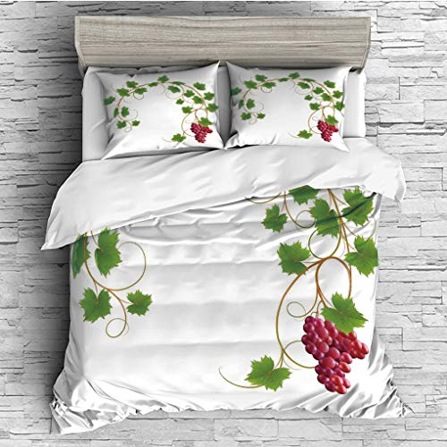 ver 2 Pillow Shams)/All Seasons/Home Comforter Bedding Sets Duvet Cover Sets for Adult Kids/Double/Grapes Home Decor,Curved Ivy Branch Deciduous Woody Wines Seed Clusters Cabernet ()