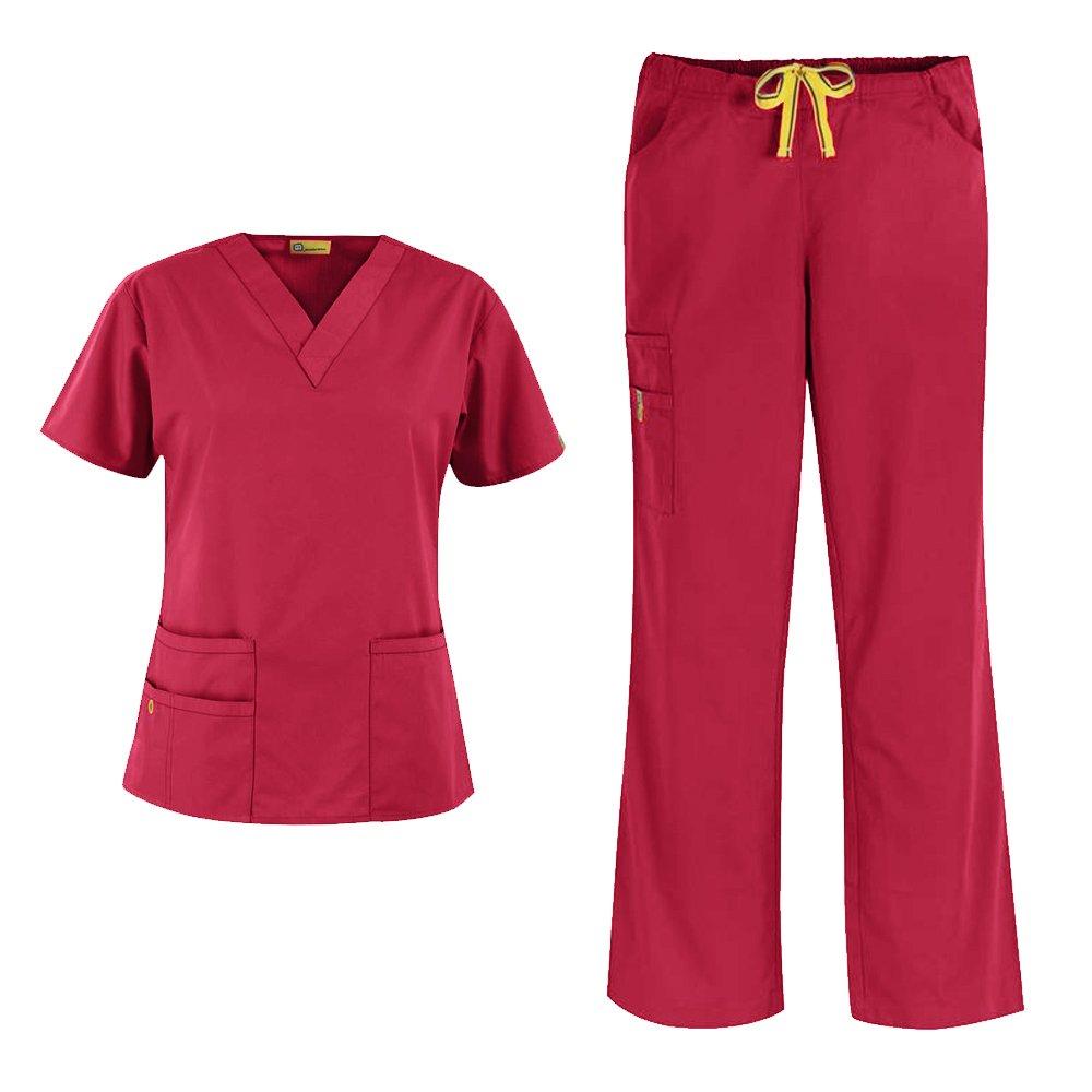 WonderWink Origins Women's 6016 Bravo Top & Romeo Pant 5026 Medical Uniform Scrub Set (Red - Medium/Small Tall)