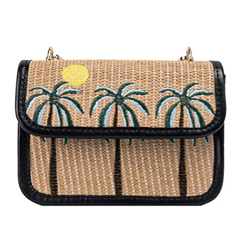 YYW Casual Weave Crossbody Bag With Coconut Tree Pattern Rattan Purse Straw Bags