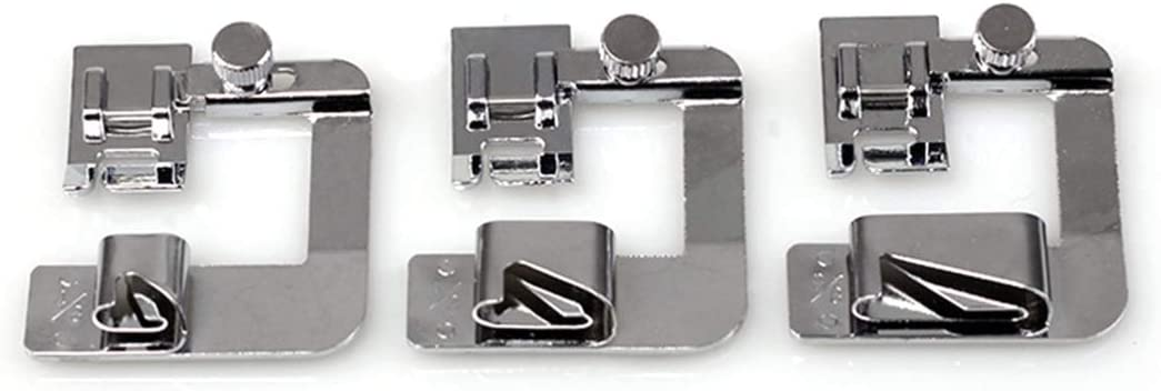 EXCEART El Kit de 3 Pies de Dobladillo de Prensatelas para Dobladillo Enrollado Incluye 4/8 6/8 8/8 para Máquina de Coser de Vástago Bajo Bloqueo para Bebés