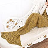 Fadyshow Super Soft All Seasons Mermaid Tail Blanket Knit Crochet Sleeping Bag Blankets for Adult and Kids (Yellow, 76.78x35.5)