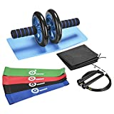 Odoland 3-In-1 AB Wheel Roller Kit AB Roller Pro with 4 Resistance Loop Bands, Jump Rope and Knee Pad - Perfect Abdominal Core Carver Fitness Workout for Abs