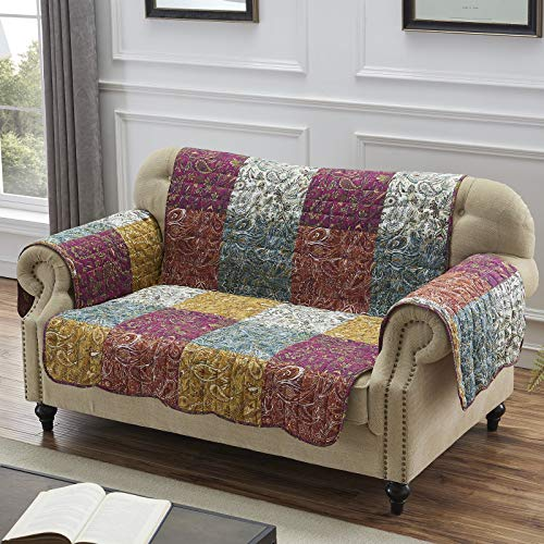- Barefoot Bungalow Paisley Slumber Furniture Protector Slipcover, Loveseat, Spice