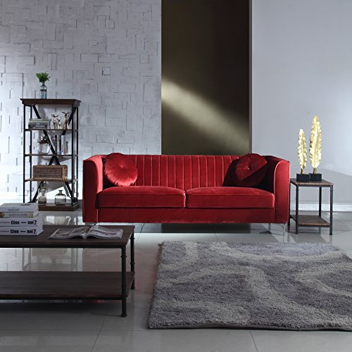 Classic and Traditional Living Room Marilyn Velvet Sofa with Tufted Accent Pillows (Red) - Red Velvet Sofa
